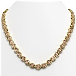 31.96 CTW Morganite & Diamond Necklace Yellow Gold 10K Yellow Gold - REF-604F2N - 40414