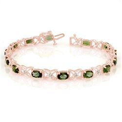 8.15 CTW Green Tourmaline & Diamond Bracelet 18K Rose Gold - REF-134H2M - 11263