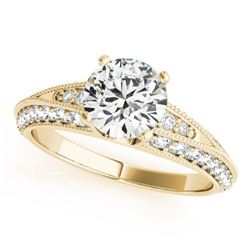 1.33 CTW Certified VS/SI Diamond Solitaire Antique Ring 18K Yellow Gold - REF-209V3Y - 27260