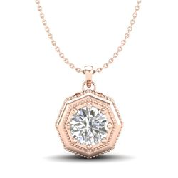 0.75 CTW VS/SI Diamond Solitaire Art Deco Stud Necklace 18K Rose Gold - REF-180M2F - 37098