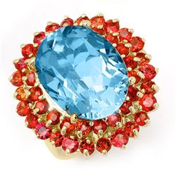 14.25 CTW Red Sapphire & Blue Topaz Ring 10K Yellow Gold - REF-82X2R - 11732