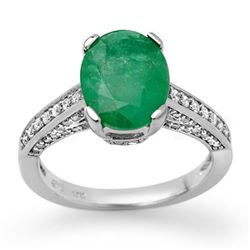 3.20 CTW Emerald & Diamond Ring 18K White Gold - REF-94K5W - 11872