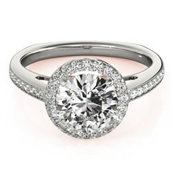 0.80 CTW Certified VS/SI Diamond Solitaire Halo Ring 18K White & Rose Gold - REF-136Y2X - 26955