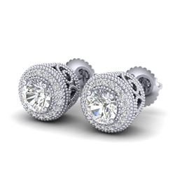 1.55 CTW VS/SI Diamond Solitaire Art Deco Stud Earrings 18K White Gold - REF-259R3K - 36962
