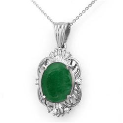 5.88 CTW Emerald & Diamond Pendant 18K White Gold - REF-79M6F - 13109