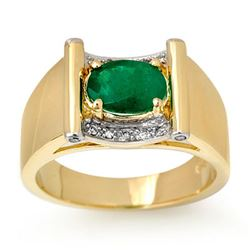 1.83 CTW Emerald & Diamond Men's Ring 10K Yellow Gold - REF-46A2V - 13489