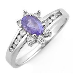 1.08 CTW Tanzanite & Diamond Ring 18K White Gold - REF-47K3W - 11427