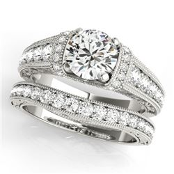 1.61 CTW Certified VS/SI Diamond Solitaire 2Pc Wedding Set Antique 14K White Gold - REF-238F2N - 315