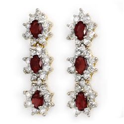 5.63 CTW Ruby & Diamond Earrings 14K Yellow Gold - REF-115N5A - 14310