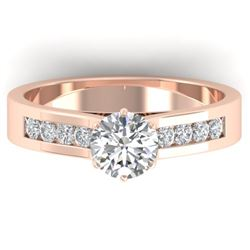 1.10 CTW Certified VS/SI Diamond Solitaire Art Deco Ring 14K Rose Gold - REF-188M2F - 30346