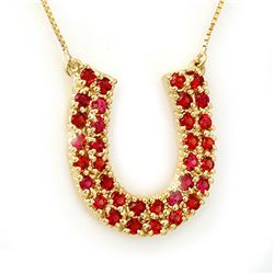 2.0 CTW Red Sapphire Necklace 10K Yellow Gold - REF-47A3V - 11711