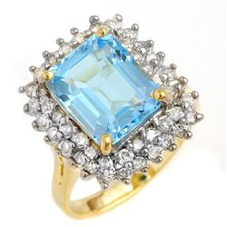 5.10 CTW Blue Topaz & Diamond Ring 14K Yellow Gold - REF-82K7W - 13201