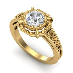 1 CTW VS/SI Diamond Solitaire Art Deco Ring 18K Yellow Gold - REF-318A3V - 36874