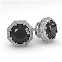 1.0 CTW Black Diamond Stud Solitaire Earrings 18K White Gold - REF-52M5F - 35955