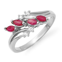 0.40 CTW Ruby & Diamond Ring 18K White Gold - REF-38W4H - 13150