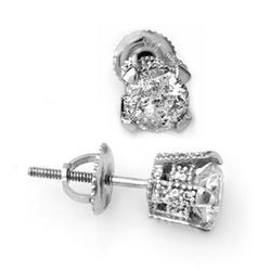 1.0 CTW Certified VS/SI Diamond Solitaire Stud Earrings 14K White Gold - REF-125Y8X - 10503