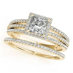 1.30 CTW Certified VS/SI Princess Diamond 2Pc Set Solitaire Halo 14K Yellow Gold - REF-242F9N - 3138