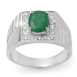 2.25 CTW Emerald & Diamond Men's Ring 10K White Gold - REF-47H8M - 13419