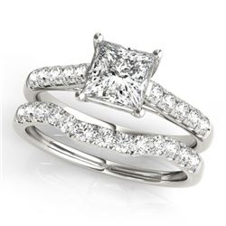 1.21 CTW Certified VS/SI Princess Diamond 2Pc Wedding Set 14K White Gold - REF-166M2F - 32072