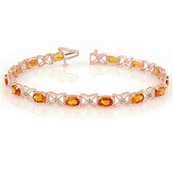 10.15 CTW Orange Sapphire & Diamond Bracelet 18K Rose Gold - REF-111X8R - 11672
