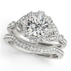 1.44 CTW Certified VS/SI Diamond 2Pc Wedding Set Solitaire Halo 14K White Gold - REF-225H5M - 30963