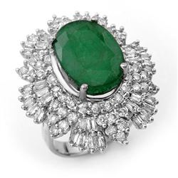 11.65 CTW Emerald & Diamond Ring 18K White Gold - REF-441M6F - 13000