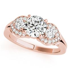 1.20 CTW Certified VS/SI Diamond 3 Stone Solitaire Ring 18K Rose Gold - REF-220F9N - 27982