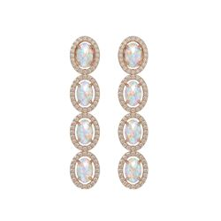 4.05 CTW Opal & Diamond Earrings Rose Gold 10K Rose Gold - REF-112M7F - 40518