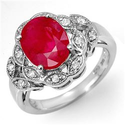 3.50 CTW Ruby & Diamond Ring 10K White Gold - REF-52Y7X - 11908