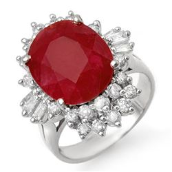 6.30 CTW Ruby & Diamond Ring 18K White Gold - REF-134R4K - 13064