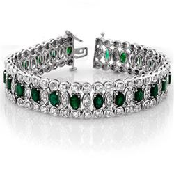 14.50 CTW Emerald & Diamond Bracelet 14K White Gold - REF-411N8A - 11517