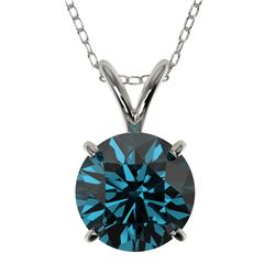 1.53 CTW Certified Intense Blue SI Diamond Solitaire Necklace 10K White Gold - REF-202F5N - 36802