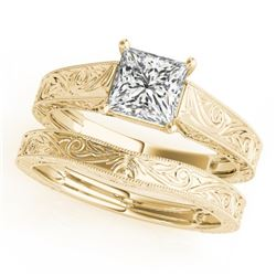 0.50 CTW Certified VS/SI Princess Diamond 2Pc Wedding Set 14K Yellow Gold - REF-130N7A - 32080
