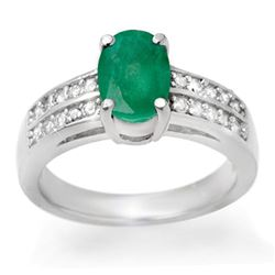 3.25 CTW Emerald & Diamond Ring 14K White Gold - REF-60K2W - 13846