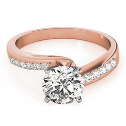 0.91 CTW Certified VS/SI Diamond Bypass Solitaire Ring 18K Rose Gold - REF-190R7K - 27676