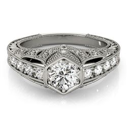 0.65 CTW Certified VS/SI Diamond Solitaire Antique Ring 18K White Gold - REF-137H3M - 27300