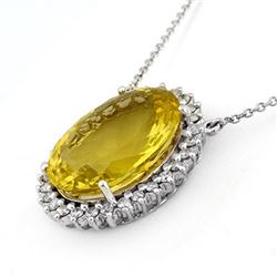 32.0 CTW Lemon Topaz & Diamond Necklace 14K White Gold - REF-240N4A - 11050
