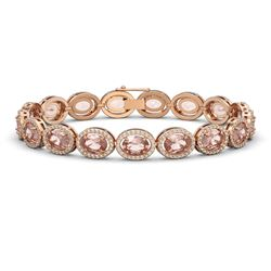20.18 CTW Morganite & Diamond Bracelet Rose Gold 10K Rose Gold - REF-377W3H - 40614