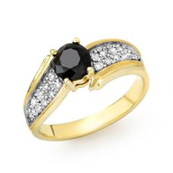 1.40 CTW VS Certified Black & White Diamond Ring 10K Yellow Gold - REF-61R5K - 14086