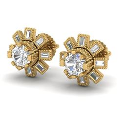 1.77 CTW VS/SI Diamond Solitaire Art Deco Stud Earrings 18K Yellow Gold - REF-263W6H - 37066