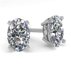 1.0 CTW Oval Cut VS/SI Diamond Stud Designer Earrings 18K White Gold - REF-180K2W - 32271