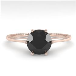 1.0 CTW Black Diamond Solitaire Engagement Ring 18K Rose Gold - REF-53X6R - 35900