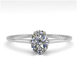 1.0 CTW VS/SI Oval Cut Diamond Solitaire Engagement Ring Size 7 18K White Gold - REF-287A4V - 35892