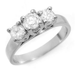 1.50 CTW Certified VS/SI Diamond 3 Stone Ring 14K White Gold - REF-204V4Y - 10948