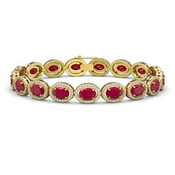 22.89 CTW Ruby & Diamond Bracelet Yellow Gold 10K Yellow Gold - REF-291V5Y - 40606