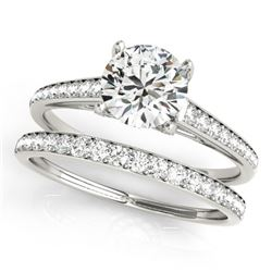 1.83 CTW Certified VS/SI Diamond Solitaire 2Pc Wedding Set 14K White Gold - REF-408R9K - 31601