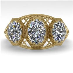 2 CTW Past Present Future VS/SI Oval Cut Diamond Ring 18K Yellow Gold - REF-421Y6X - 36067