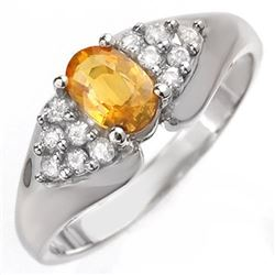 0.90 CTW Yellow Sapphire & Diamond Ring 18K White Gold - REF-51Y5X - 10026