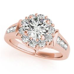 1.35 CTW Certified VS/SI Diamond Solitaire Halo Ring 18K Rose Gold - REF-173F8N - 26929