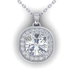1.25 CTW Cushion Cut Certified VS/SI Diamond Art Deco Necklace 14K White Gold - REF-402A9V - 30339